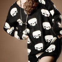 Oversize Skull Print T-shirt for Women 9802