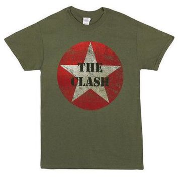 The Clash Punk Rock Band Classic Star Logo Licensed Adult Unisex T-Shirt - Green