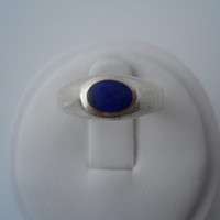 Sterling Silver 925 Blue Enamel Ring 925 TH Size 6