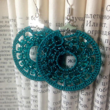 Beaded Turquoise Crochet Earrings, Cotton Thread Round Earrings, Knitted Hoop Earrings, Seed Beads Embroidery Earrings, Teal Crochet Jewelry