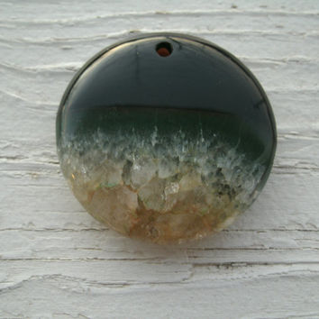 Onyx Druzy Pendant Bead - round, very slight dome, bottom is crystal druzy, top half is varied banded Onyx Agate, drilled top center, DIY