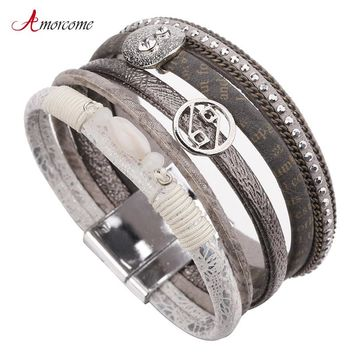 Amorcome Multilayer Leather Bracelet Female Rhinestone Crystal Bohemian Wide Metal Charm Bracelets & Bangles For Women Jewelry
