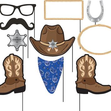 Cowboy Party Photo Booth Props, Western Birthday Picture Sticks