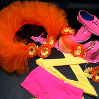 EDC, rave, festival, dance, neon pink bra with wraps, shorts, daisy belt 1/2  and headband outfit