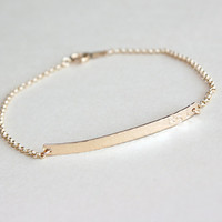 Personalized bar bracelet with initials in 14K gold filled, Hammered or Smooth, Custom bracelet, Gold bracelet, Simple name plate bracelet