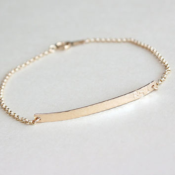 Personalized Bar Bracelet With Initials In 14k Gold Filled Hammered Or Smooth Custom