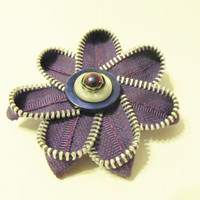 Purple Single Edge Zipper Flower Hair Clip with by Starfall