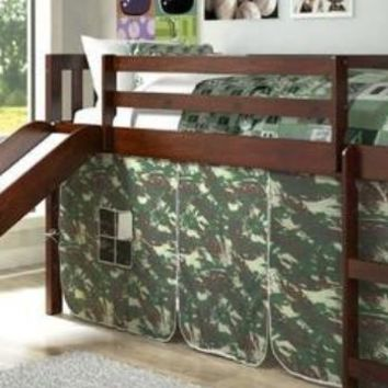 Lincoln Low Loft with Slide & Camouflage Tent