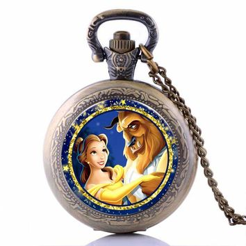 2017 Beauty and the Beast Cartoon Quartz Pocket Watch Analog Pendant Necklace Chain for Boys Girls Day-First™