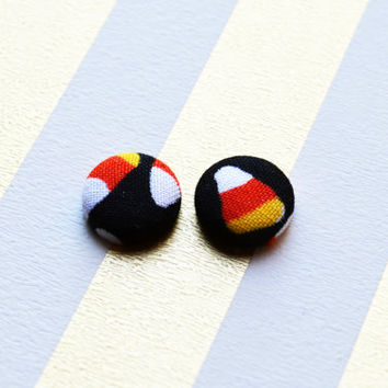 Holiday Fabric Button Earrings - Halloween Buttons - Candy Corn - Halloween - Cute Candy Corn Earrings - Birthday Gift - Cute Party Favors