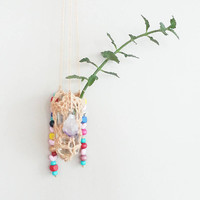 Shabby Chic Decor~ Bohemian Home Decor~ Boho Dorm Decor~ succulent Hanging Planter~ Air Plant Pot~ Mini Planter~ Amethyst~ Beads~ Gypsy~