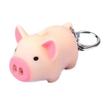 Smooth Little Pig Design Led Keychain Flashlight with Sound (Beige)