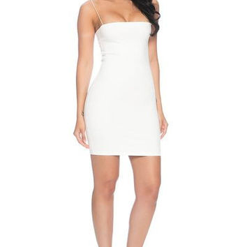 7th Street Classic String Tank Dress- WHITE