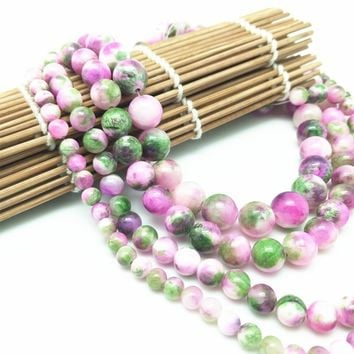 Natural Stone Green Pink Zebra Jade Round Loose Beads Pick Size 6/8/10/12MM For Jewelry Making DIY