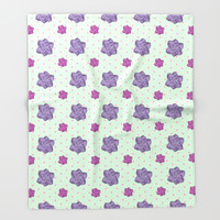 Polka Dots and Roses Throw Blanket by Octavia Soldani | Society6