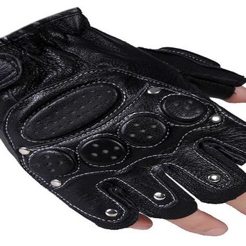 Men's Genuine Leather Tactical Gloves
