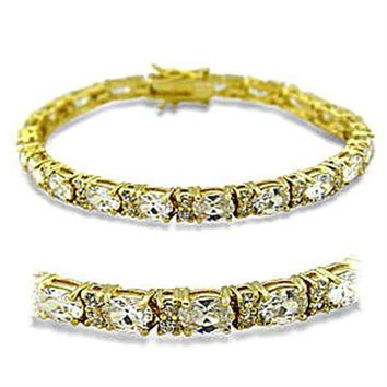 415502 Gold Brass Bracelet with AAA Grade CZ in Clear