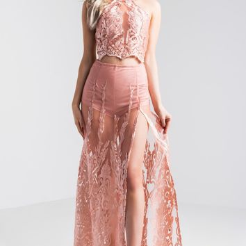 AKIRA Sheer Lace Lined Maxi Skirt in Pink
