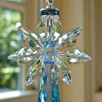 Faith Blue - Angel Swarovski Crystal Suncatcher 6 Inch - Car Charm