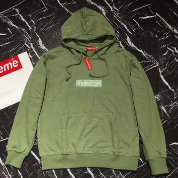 Supreme Women Men Fashion Casual Hooded Top Sweater Pullover Green