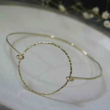 Gold bangle, 14KGold filled bangle bracelet, eternity bracelet, circle bracelet