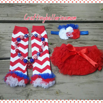 4th of July Baby Girl Outfit- Diaper Cover Bloomers - Leg Warmers - Chevron - Headband - Necklace - Red White Blue - Birthday - Cake Smash