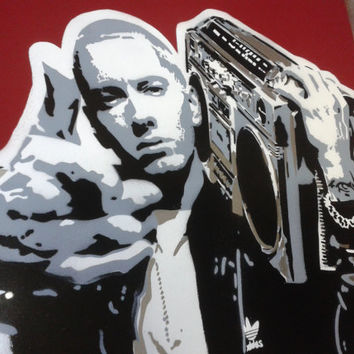 Eminem stencil art painting on 24 by 24 inch canvas,hip hop,rap,detroit,8 mile,music,urban,pop,portrait,red,grey,white,black,ghetto blaster