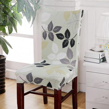 Chair Cover Modern Style Floral Printed Universal Spandex Stretch Short Removable Elastic Cloth Chair Covers Banquet Style