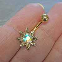 Wild Flower Gold Belly Button Ring