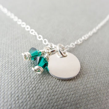 May birthstone necklace, Emerald Swarovski crystal, Sterling Silver necklace, charm necklace, Green necklace, May birthday necklace