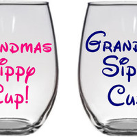 """SET of """"Grandmas Sippy Cup"""" and """"Grandpas Sippy Cup"""" Stemless wine glass - perfect fathers day gift - birth announcement gift"""