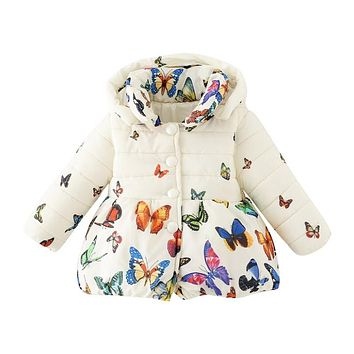 Toddler Baby Girls Winter Coats 2018 Infants Kids Cotton Butterfly Print Jackets Long Sleeve Outwear Children Clothing hsp078