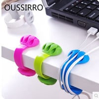 New creative office desk edge hub folder winder wire collection finishing data line holder home office organizer