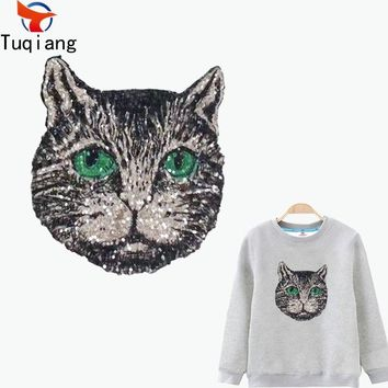 Personality black cat patch for clothing Diy T-shirt Hoodies and denim jacket thermal transfer Printed A-level Washable 26*23CM