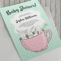 Printable Baby Shower Invitation, 5x7 in, Tea Party Theme, Bunnies in a Teacup, White Rabbits, Spring Baby, Mint Quatrefoil, Pink Polka Dots