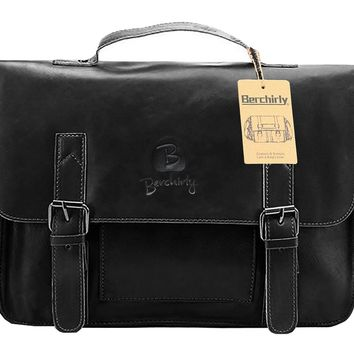 PU Leather Briefcase, Berchirly Vintage Office Laptop Briefcase Shoulder Business Messenger Bags Tote
