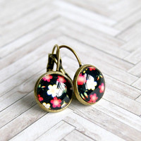 miss daisy brass lever back cabochon earrings, pink black, drop earrings, floral, flower, rockabilly