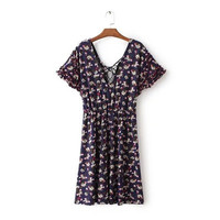 2016 Trending Fashion Summer Floral Printed Short Sleeve Strappy V Neck One Piece Dress  _ 9824