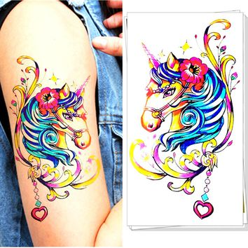 Cute Unicorn Tattoo Stickers Water Transfer Temporary Body Art  Fashion Accessories Waterproof 3-5 Days