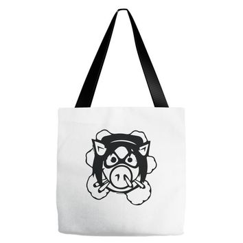 pig wheels angry Tote Bags