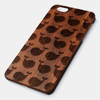 Whale Pattern Natural wood iPhone case laser engraved iPhone 6 6S 6 Plus 6S Plus case WA047