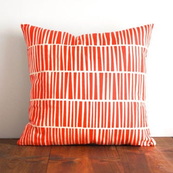 Keys Pillow Cover - Poppy Red / Orange - Screen Printed Organic Cotton