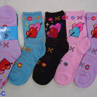 6 Pair Hugs & Kisses Novelty Mid Calf Crew Socks
