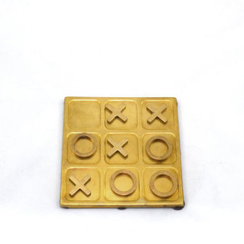 Brass Tic Tac Toe Game Vintage Board Game Brass Coffee Table Game Travel Tic Tac Toe Game Home Décor