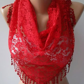 NEW- Mothers Day Gift  Red - Lace Shawl/ Scarf - Headband with Lace Edge