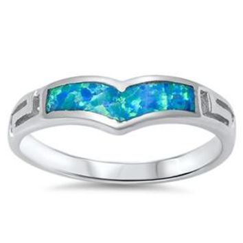 Sterling Silver Elongated Heart and Greek Pattern Sides Ring 6MM Blue Lab Opal