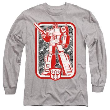 Transformers Long Sleeve T-Shirt Red & White Optimus Prime Heather