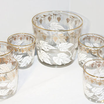 Ice Bucket and Set of Glasses, Vintage Gold and White Bar Ware