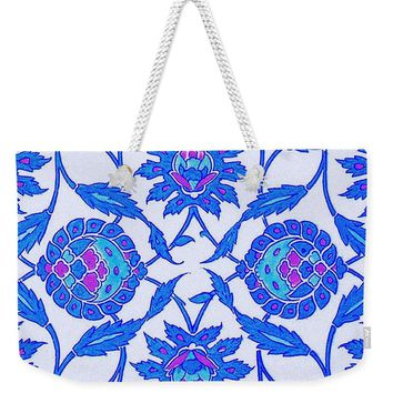 An Ottoman Iznik Style Floral Design Pottery Polychrome, By Adam Asar, No 34 - Weekender Tote Bag