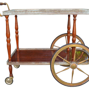 Wood & Patinated Brass Tea Cart